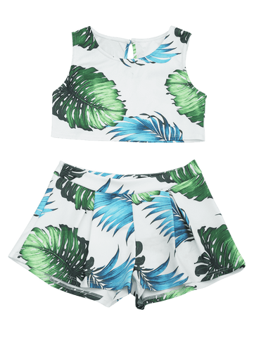 Chic Leaves Print Top and Shorts Suit