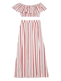 Separate Striped Top And Slit Skirt Suit - Red Stripes