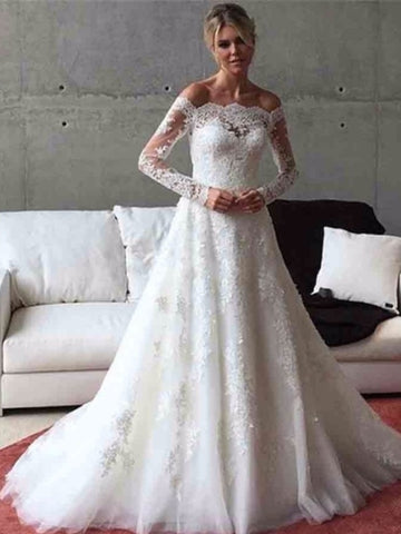 A-Line Button Off the Shoulder Appliques Long Sleeves Wedding Dress