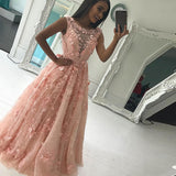 Bateau Floor-Length Pink/Ivory Lace Prom Dress with Appliques