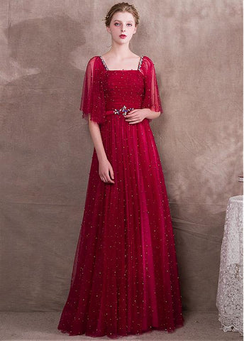 Lace Square Burgundy Evening Dress With Beadings & Belt