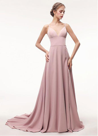 Pink Spaghetti Straps Satin A-line Evening Dress
