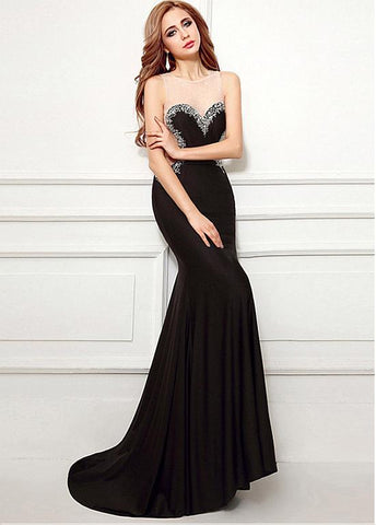 Spandex Beadings Jewel Black Mermaid Evening Dress