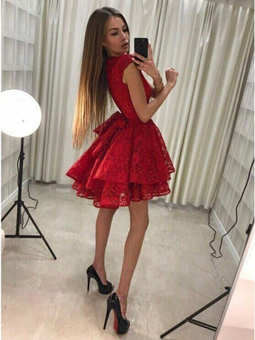 3b4806d9fab Round Neck Short Red A-Line Lace Homecoming Party Dress – Sassymyprom