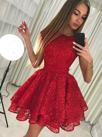 Round Neck Short Red A-Line Lace Homecoming Party Dress