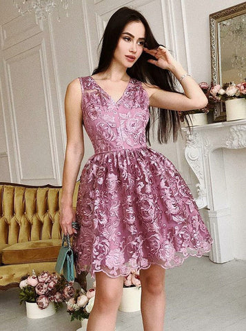 V-Neck Short Purple Lace Homecoming Prom Party Dress