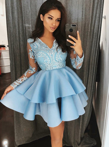 V-Neck Tiered Blue Satin Long Sleeve Homecoming Dress