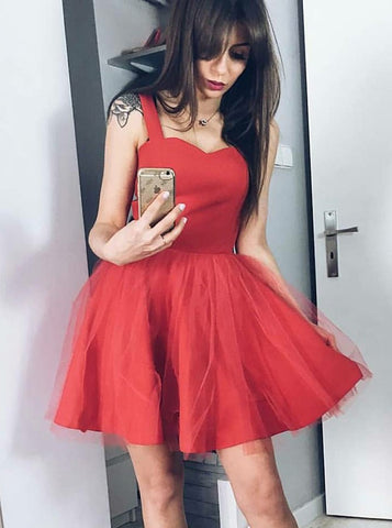 Tulle Short Square Neck Red Homecoming Party Dress