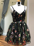 Floral Spaghetti Straps Short Black Lace Homecoming Dress