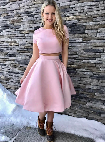 Two Piece Short Sleeves Pink Satin Homecoming Dress with Pockets