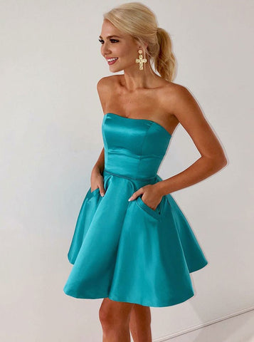 Pockets Strapless Ice Blue Satin Homecoming Dres