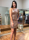 Sheath Backless Rose Gold Sequined Homecoming Dress