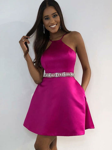 Satin Short A-Line Jewel Fuchsia Homecoming Dress with Beading Pockets