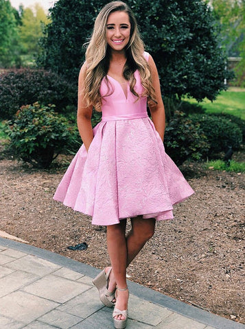 Low Cut Pleated Pink Floral Satin Short Homecoming Dress with Pockets