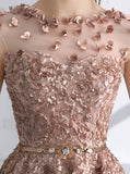 A-Line Appliques Champagne Lace Short Homecoming Prom Dress