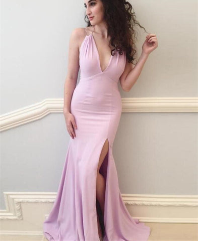 Mermaid Spaghetti Straps Split Pearl Pink Backless Prom Dress