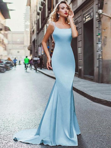 Beading Sheath Square Neck Backless Long Satin Prom Dress
