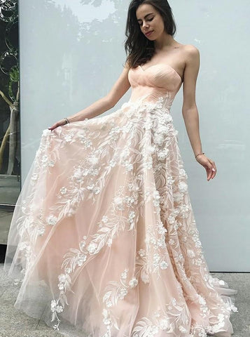 A-Line Sweetheart Neck Appliques Champagne Prom Dress