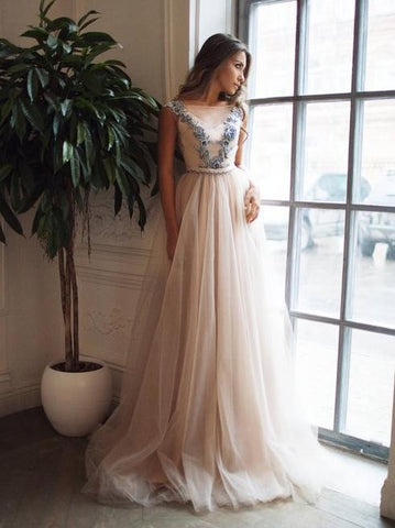 Appliques A-Line Illusion Pearl Pink Backless Prom Dress