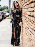 Two Piece Scoop Neck Black Long Sleeve Prom Dress