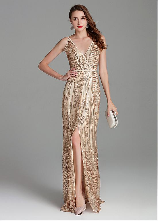 fb54ac7a5810 Sequin Lace V-neck Gold Embroidery Mermaid Prom Dress – Sassymyprom
