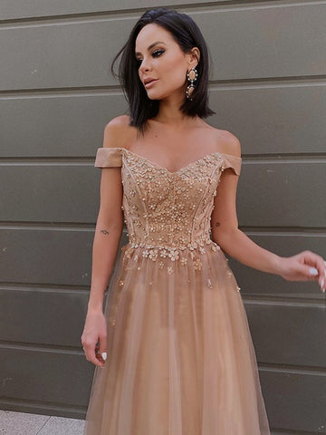 Champagne Beading Off The Shoulder Flower Tulle Prom Dress