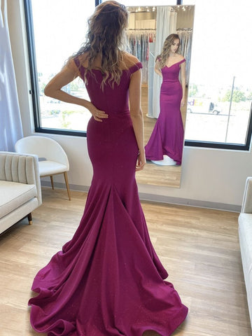 Chiffon Feather Pleats Fuchsia Off The Shoulder Prom Dress With Slit