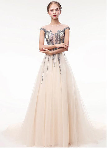 Tulle Jewel Champagne Appliques See Through Prom Dress With Beadings