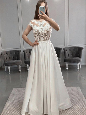 Short Sleeve Satin Lace White Scoop Appliques Beading Prom Dress