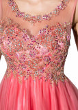 Pretty Tulle Scoop Neckline A-Line Short Homecoming Dresses With Beadings