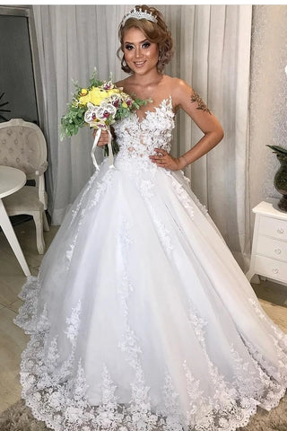 Tulle Ball Gown Romantic See Through Appliques Wedding Dress