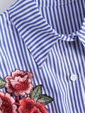 Lovely Floral Patched Striped Button Up Shirt