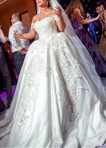 Off-the-shoulder Neckline Ball Gown Wedding Dress With Beaded Lace Appliques