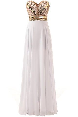 Long Beaded White Prom Dresses Featuring Sweetheart Neckline Long Chiffon A Line