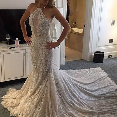 Halter Sleeveless Lace Court Train Mermaid Wedding Dress with Ruched