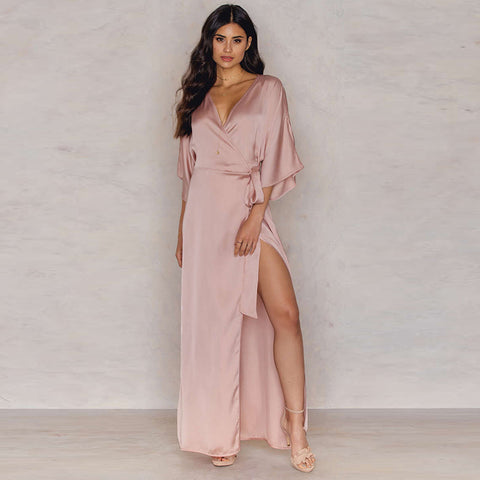 High Slit Pink Silk Like Causal Dress