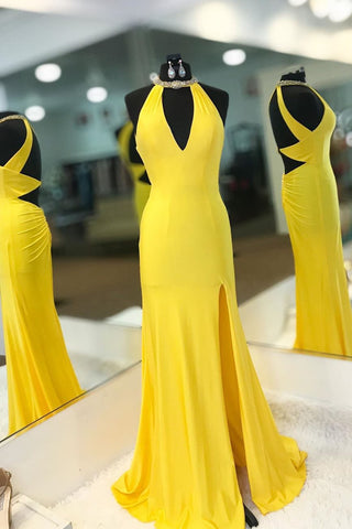 Yellow Long Satin Halter Mermaid  Prom Dress with Open Back and Slit