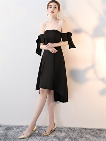 Black Off-the-Shoulder Flowers Asymmetry Cocktail Dress