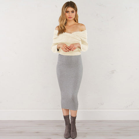 Champagne Pure Strapless Knitted Sweater