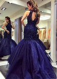 Tulle Halter Mermaid Formal Dresses With Beadings