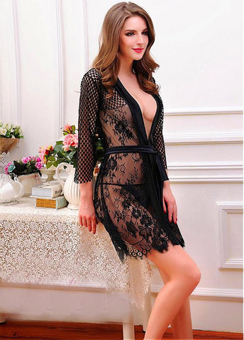 Black Sheer Lace Sexy Babydolls Lingerie