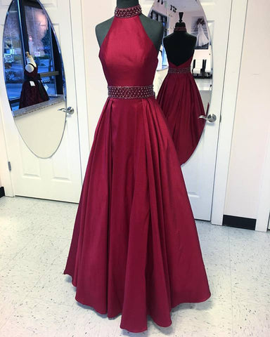 Burgundy Taffeta Halter High Neck 2017 Prom Dress