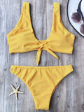 Cute Knotted Scoop Bikini Top And Bottoms