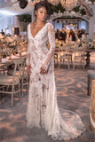 Lace Open Back See Through Long Sleeve V-neck Wedding Dress