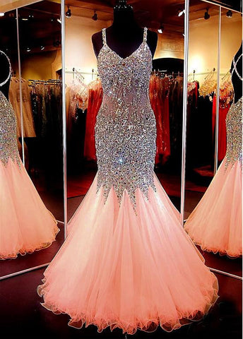 Spaghetti Straps Champagne Mermaid Prom Dress