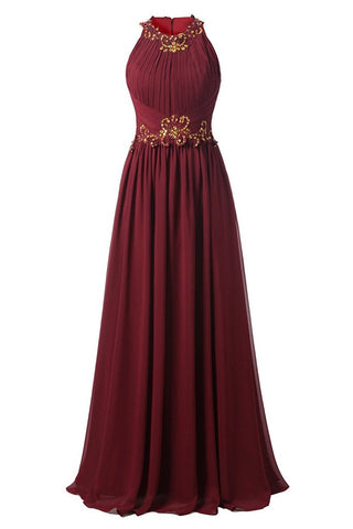 Beaded Long Chiffon Jewel Prom Evening Dress