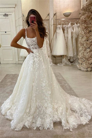 A-line Sweep Train Cheap Lace Appliques Spaghetti Straps Bridal Wedding Dress