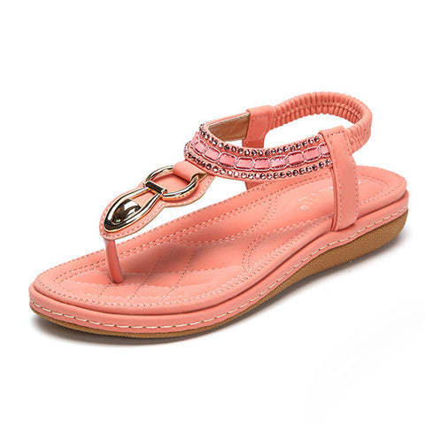 Comfortable Beaded Bohemia Clip Toe Elastic Flat Sandals