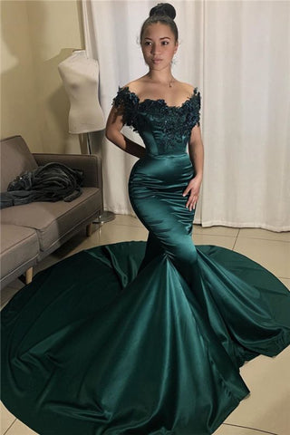Mermaid Beads Appliques Off The Shoulder Dark Green Prom Dress
