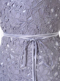 Lace Spaghetti Straps Short Grey Homecoming Dress with Sash